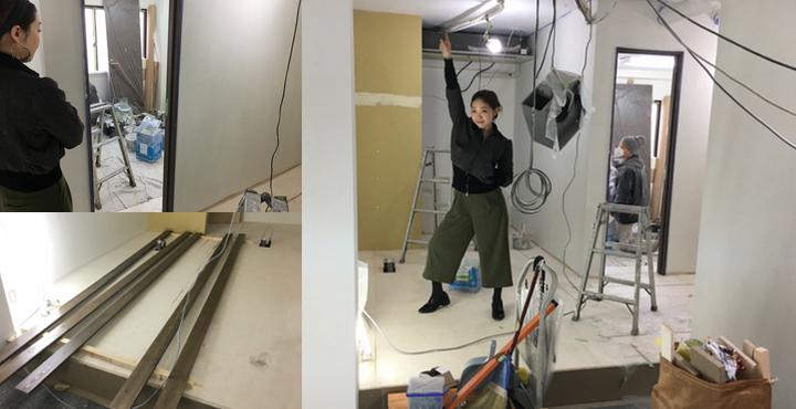 オープンまで1週間切りました。【Liss】にコルギ用の個室、壁などが出来てきました!
