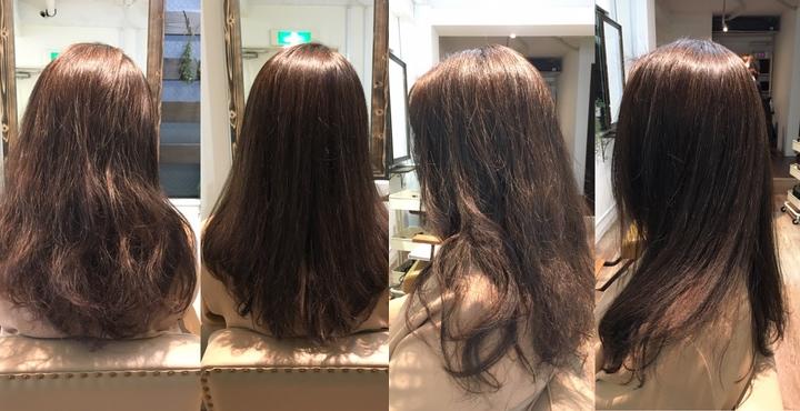 縮毛矯正とイルミナカラー・カットでハンドブローのみで美髪に。