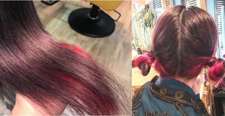 『紫と赤の髪の毛』ヘアカラーをアクセサリー感覚で♪