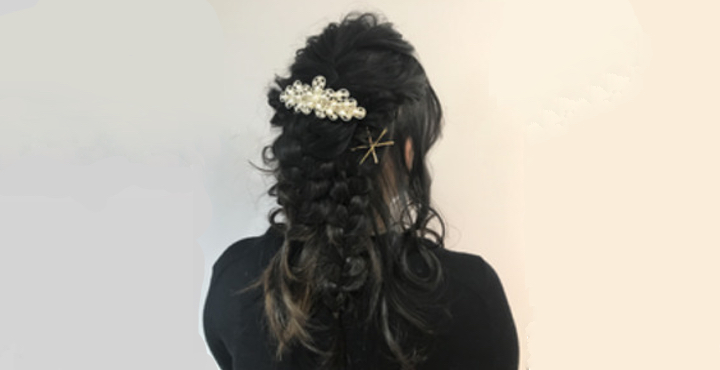 結婚式のヘアセット・ヘアアレンジのお客様♪編み込みダウンスタイルで可愛く^^