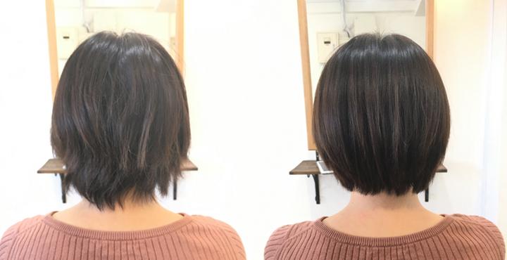 ショートヘアに97%トリートメント縮毛矯正でナチュラルストレートに。