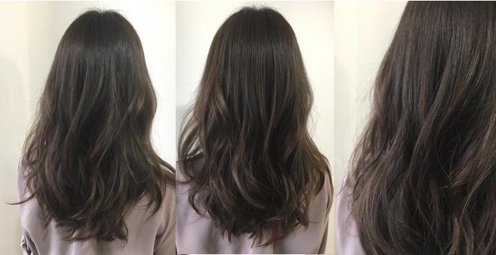 明るい髪から暗めにするのにオススメ!イルミナカラー・グレージュで透明感のあるヘアカラーに。