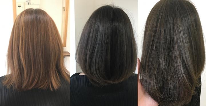 明るめの髪から暗めにヘアカラーを染めることで透明感が出ます