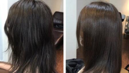 97%トリートメント成分縮毛矯正髪質改善をかけてロングヘアーへ